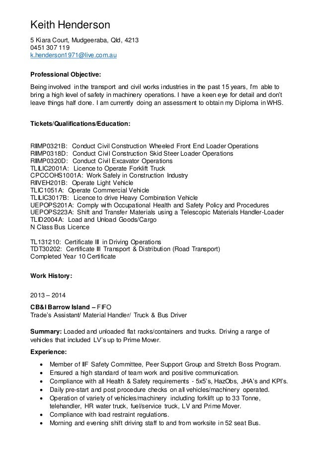 sample resume for mining industry