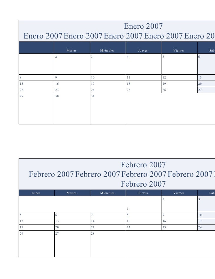 Enero 2007      Enero 2007 Enero 2007 Enero 2007 Enero 2007 Enero 200                     Martes        Miércoles        J...