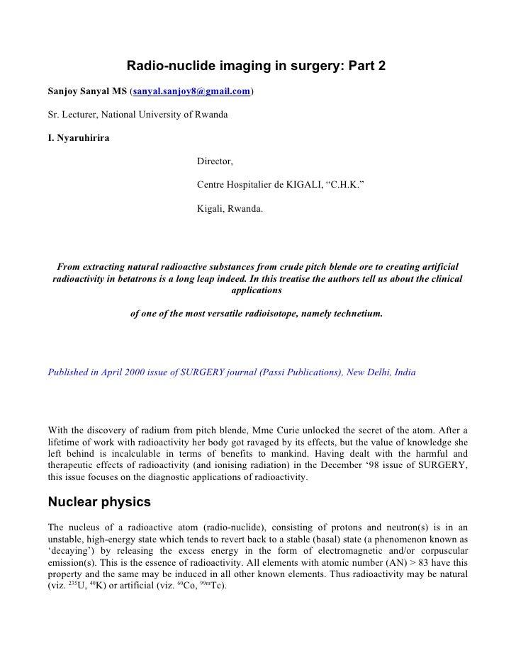 Radio-nuclide imaging in surgery: Part 2 Sanjoy Sanyal MS (sanyal.sanjoy8@gmail.com)  Sr. Lecturer, National University of...