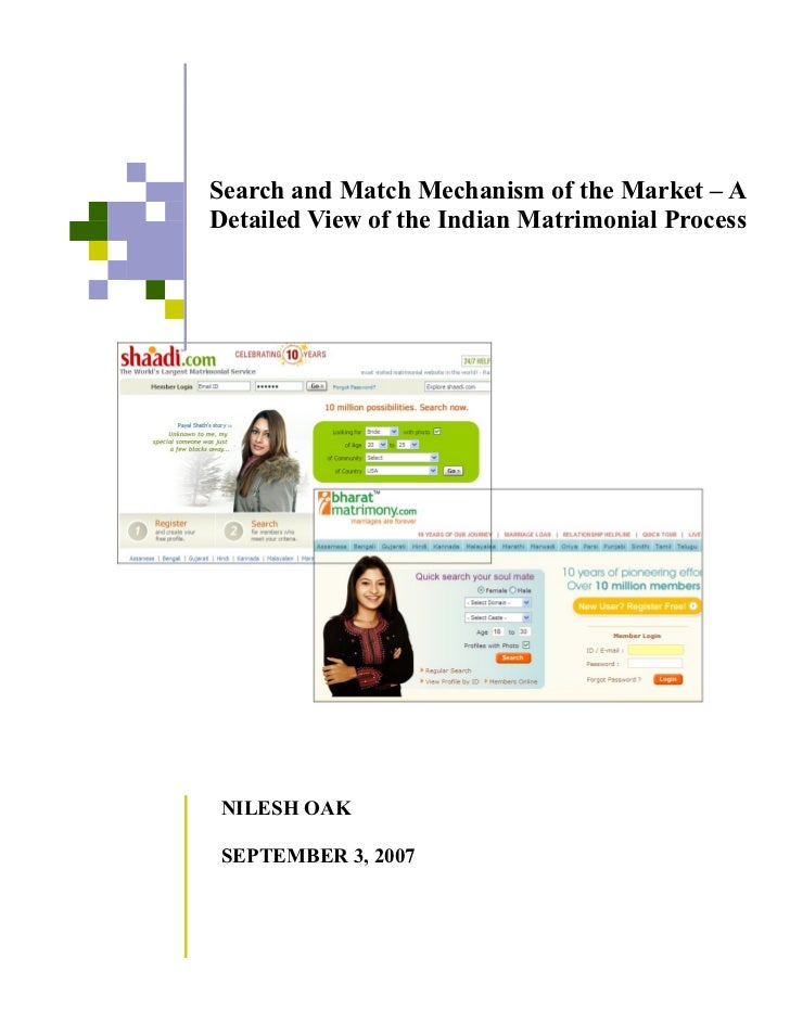 Search and Match Mechanism of the Market – ADetailed View of the Indian Matrimonial Process NILESH OAK SEPTEMBER 3, 2007