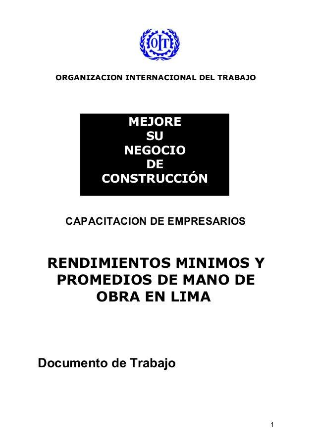 ORGANIZACION INTERNACIONAL DEL TRABAJO CAPACITACION DE EMPRESARIOS RENDIMIENTOS MINIMOS Y PROMEDIOS DE MANO DE OBRA EN LIM...