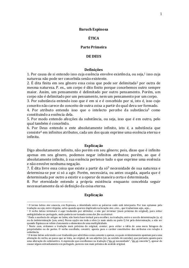 1    Baruch  Espinosa      ÉTICA          Parte  Primeira   DE  DEUS          Definições   1....