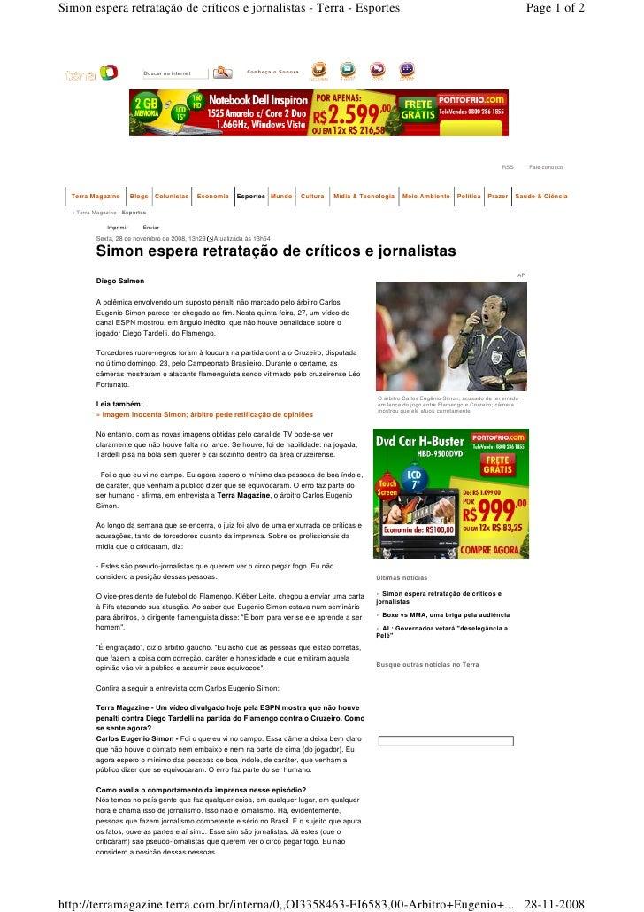 Simon espera retratação de críticos e jornalistas - Terra - Esportes                                                      ...