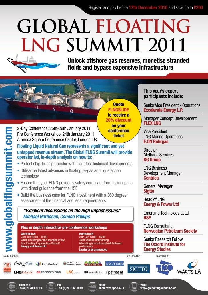 Register and pay before 17th December 2010 and save up to £200                           GLOBAL FLOATING                  ...