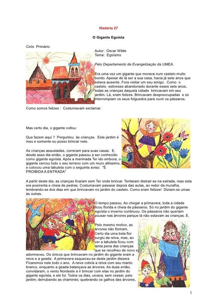 História 27                                           O Gigante Egoísta  Ciclo Primário                                   ...