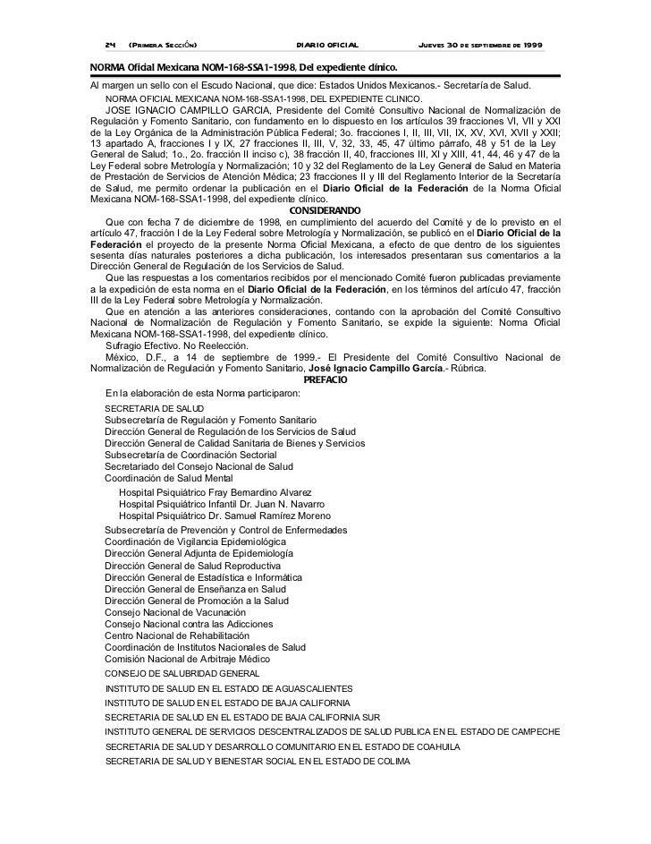 24    (Primera Sección)                         DIARIO OFICIAL                 Jueves 30 de septiembre de 1999NORMA Oficia...