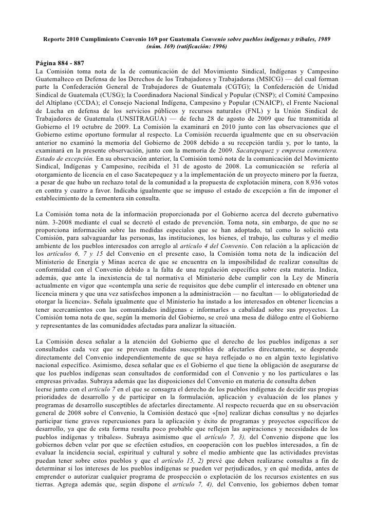 Reporte 2010 Cumplimiento Convenio 169 por Guatemala Convenio sobre pueblos indígenas y tribales, 1989                    ...
