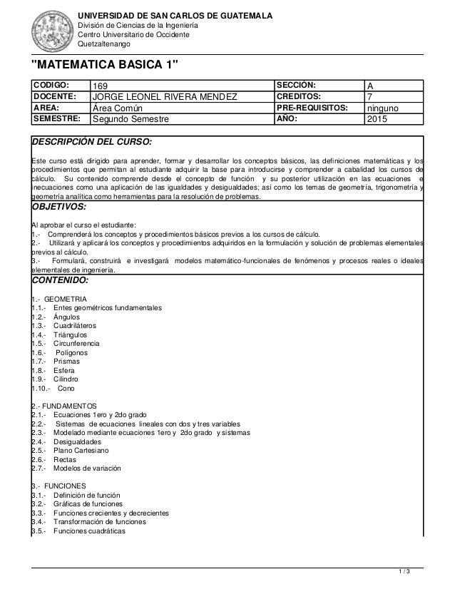 UNIVERSIDAD DE SAN CARLOS DE GUATEMALA División de Ciencias de la Ingeniería Centro Universitario de Occidente Quetzaltena...