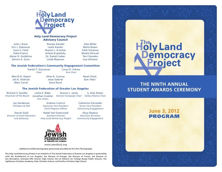 Holy Land Democracy Project                                     Advisory Council      Julie I. Bram                       ...