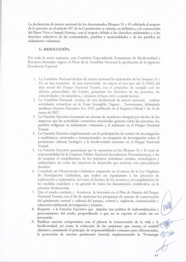 La declaratoria de interés nacional de los denominados Bloques 31 y 43 solicitada al amparo de 1o previsto en el artículo ...