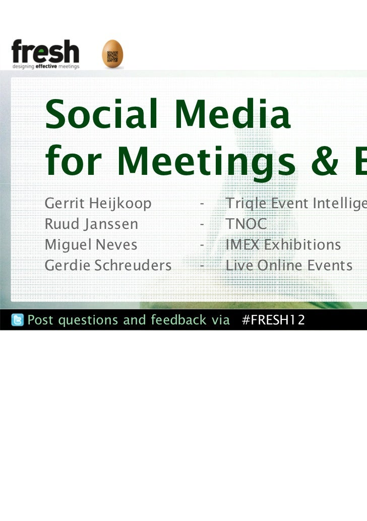 Social Media for meetings & Events #Fresh12