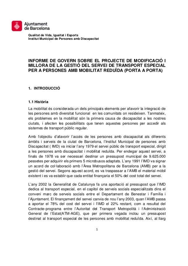 Informe projecte de modificació i millora del Porta a Porta