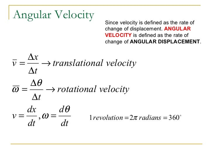 Angular Velocity Equation Angular Velocity Equation