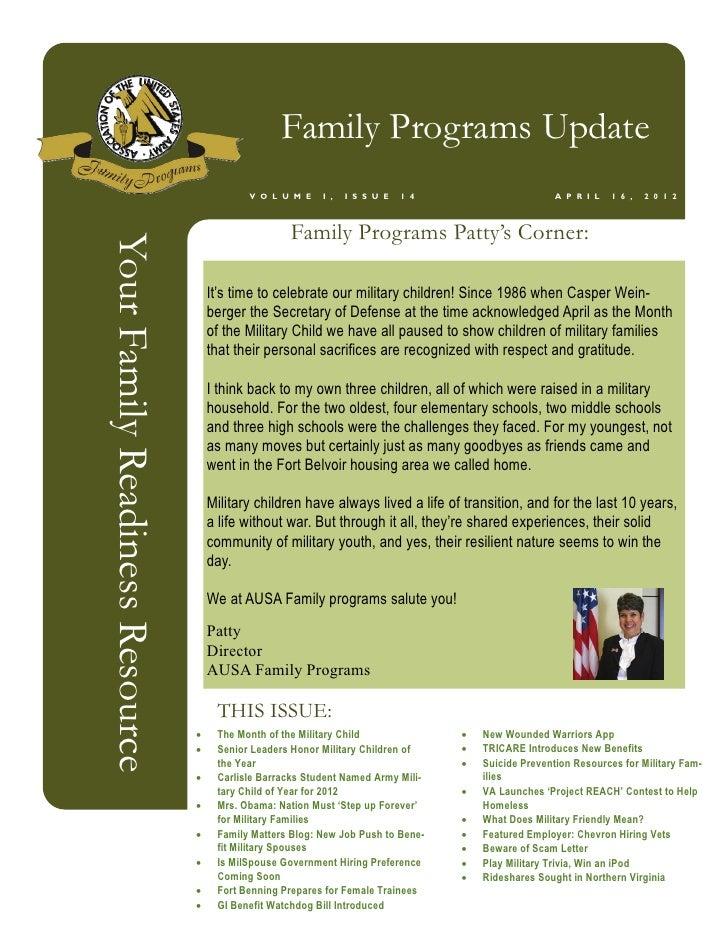 Family Programs Update                                             V O L U M E    I ,   I S S U E   1 4                   ...