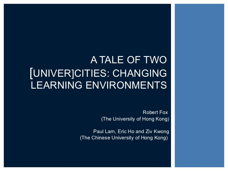 Robert Fox  (The University of Hong Kong) Paul Lam, Eric Ho and Ziv Kwong (The Chinese University of Hong Kong)  A TALE OF...