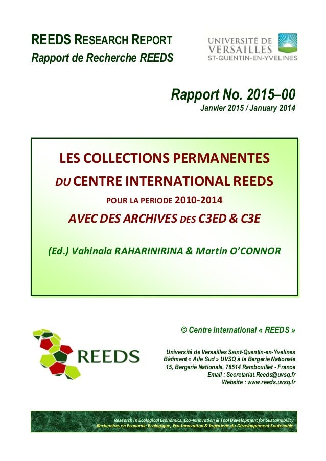 REEDS RESEARCH REPORT Rapport de Recherche REEDS Rapport No. 2015–00 Janvier 2015 / January 2014 © Centre international « ...