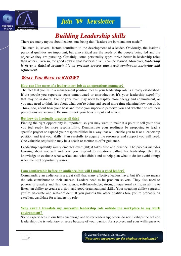 Juin '09 Newsletter                         Building Leadership skills There are many myths about leaders, one being that ...