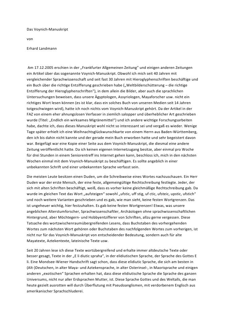"""Das Voynich-ManuskriptvonErhard Landmann Am 17.12.2005 erschien in der """"Frankfurter Allgemeinen Zeitung"""" und einigen ander..."""