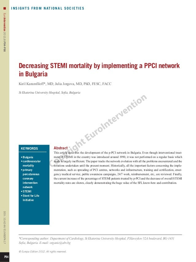 16 decreasing stemi mortality by implementing a ppci network in bulgaria