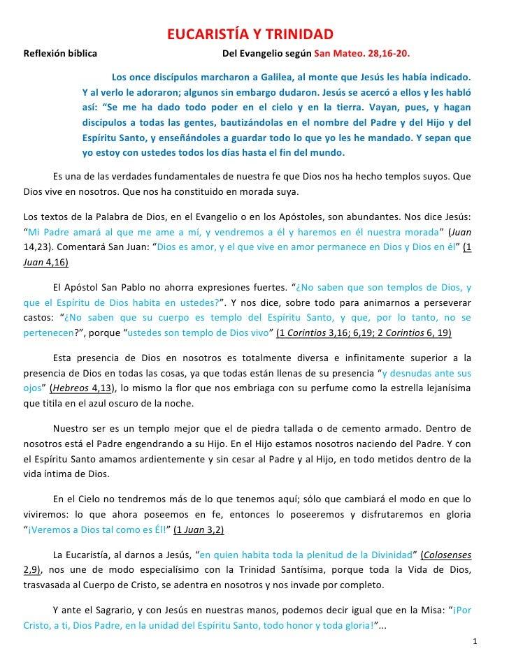 EUCARISTÍA Y TRINIDADReflexión bíblica                            Del Evangelio según San Mateo. 28,16-20.                ...