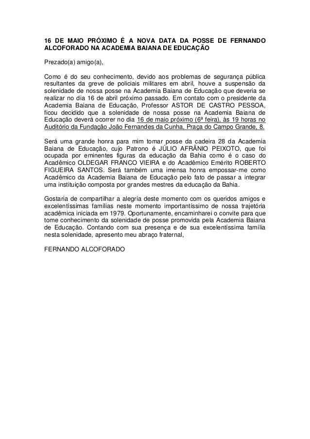 16 de maio próximo é a nova data da posse de fernando alcoforado na academia baiana de educação