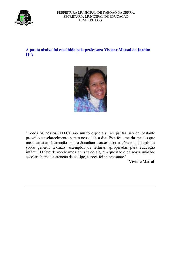 PREFEITURA MUNICIPAL DE TABOÃO DA SERRA.                     SECRETARIA MUNICIPAL DE EDUCAÇÃO                             ...