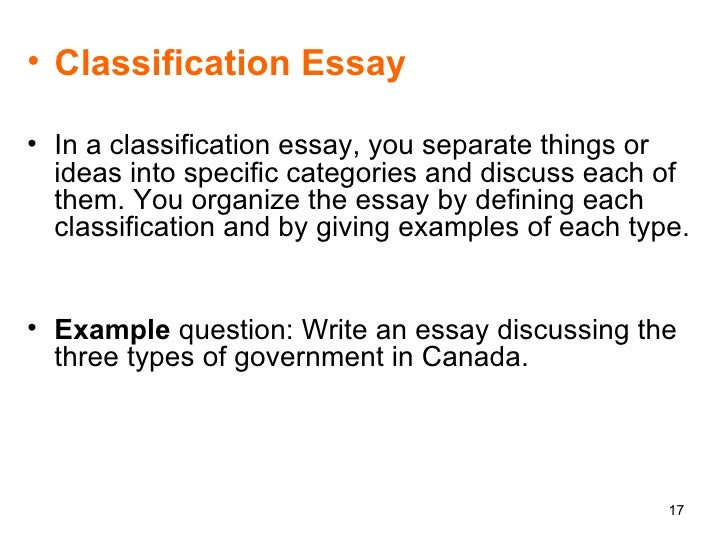Write my classification essay thesis