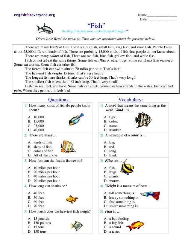 "englishforeveryone.org Name________________ Date________________ ""FFiisshh"" Reading Comprehension – Informational Passages..."