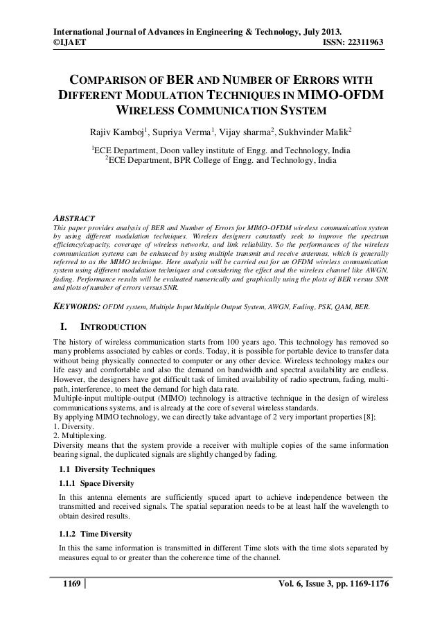 International Journal of Advances in Engineering & Technology, July 2013. ©IJAET ISSN: 22311963  COMPARISON OF BER AND NUM...