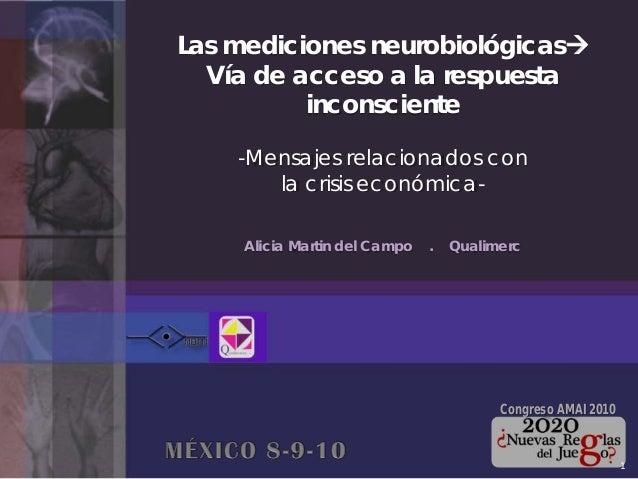 Las mediciones neurobiológicas Vía de acceso a la respuesta inconsciente -Mensajes relacionados con la crisis económica- ...