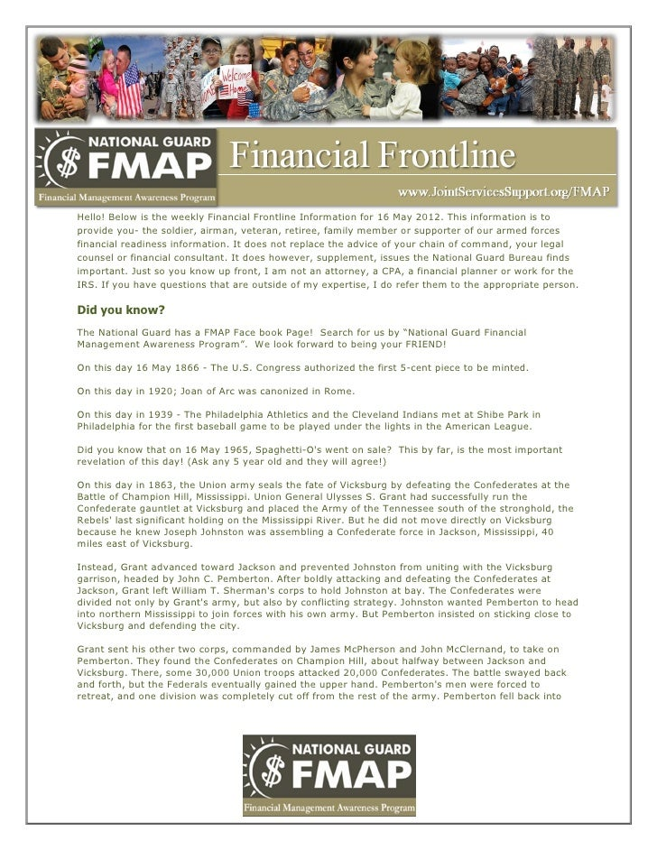 Hello! Below is the weekly Financial Frontline Information for 16 May 2012. This information is toprovide you- the soldier...