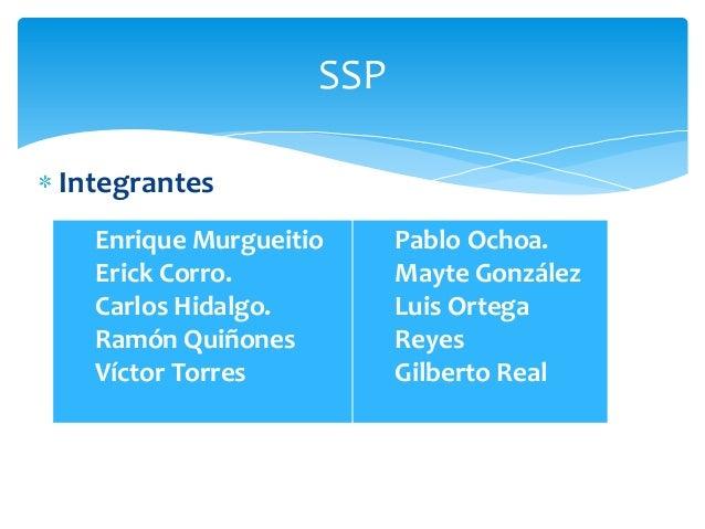 SSP Integrantes Enrique Murgueitio Erick Corro. Carlos Hidalgo. Ramón Quiñones Víctor Torres  Pablo Ochoa. Mayte González ...