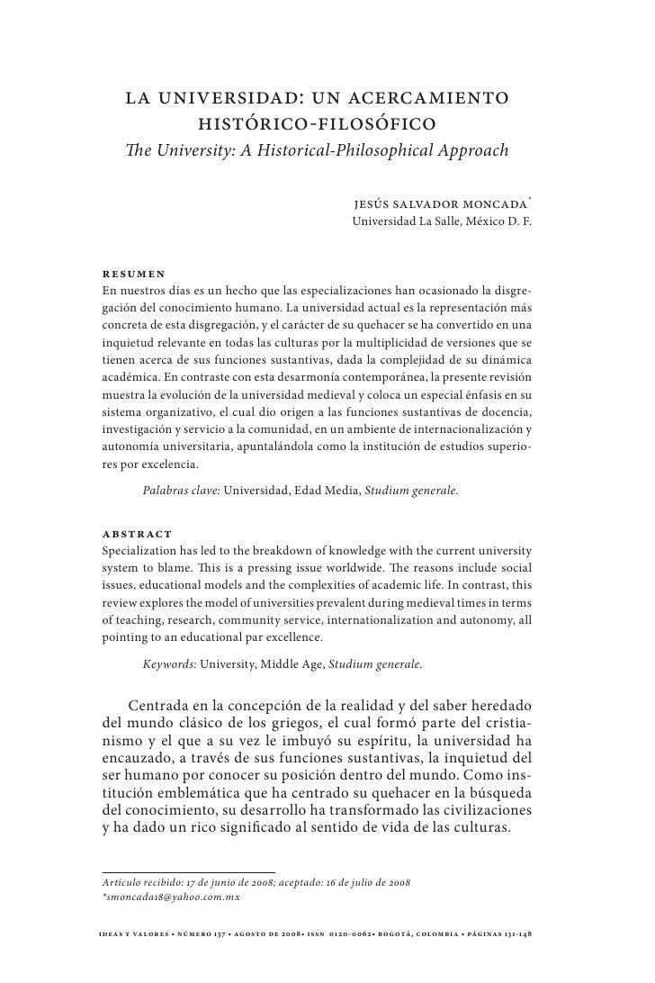 La Universidad: un acercamiento           histórico-filosófico     The University: A Historical-Philosophical Approach    ...