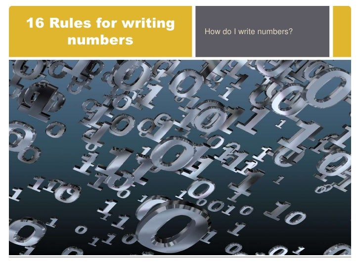 writing rules for numbers