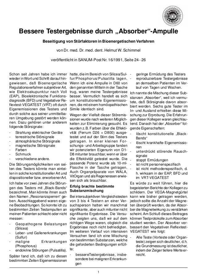 """1 Bessere Testergebnisse durch """"Absorber""""-Ampulle Beseitigung von Störfaktoren in Bioenergetischen Verfahren von Dr. med. ..."""