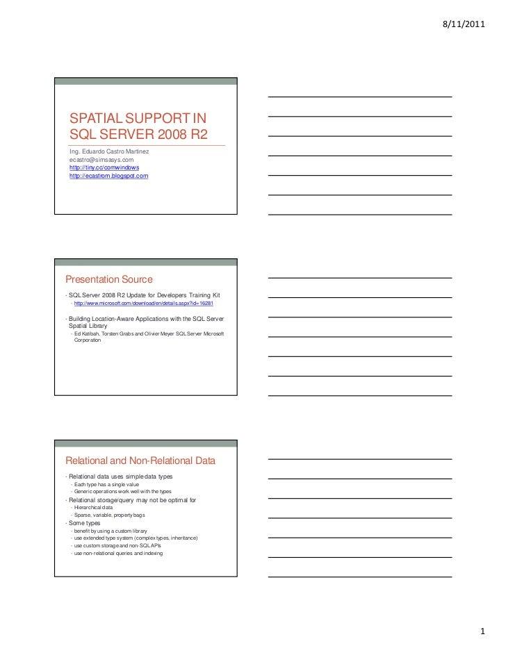 8/11/2011  SPATIAL SUPPORT IN  SQL SERVER 2008 R2  Ing. Eduardo Castro Martinez  ecastro@simsasys.com  http://tiny.cc/comw...