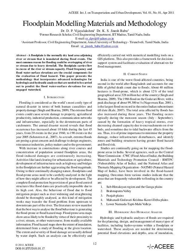 ACEEE Int. J. on Transportation and Urban Development, Vol. 01, No. 01, Apr 2011  Floodplain Modelling Materials and Metho...
