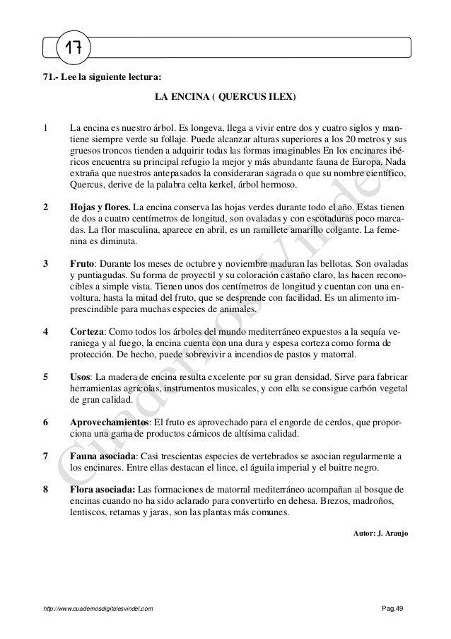 http://www.cuadernosdigitalesvindel.com Pag.49 71.- Lee la siguiente lectura: LA ENCINA ( QUERCUS ILEX) 1 La encina es nue...