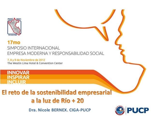 Dra. Nicole BERNEX. CIGA-PUCP