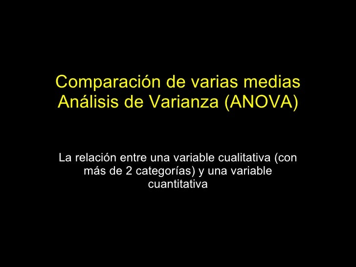 Comparación de varias medias Análisis de Varianza (ANOVA) La relación entre una variable cualitativa (con más de 2 categor...