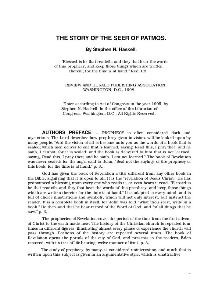 """THE STORY OF THE SEER OF PATMOS.                                By Stephen N. Haskell.                  """"Blessed is he tha..."""