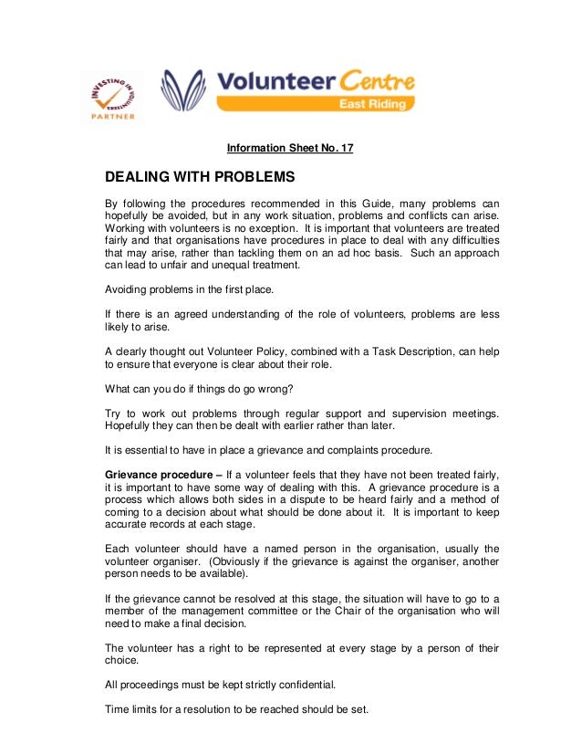 Information Sheet No. 17 DEALING WITH PROBLEMS By following the procedures recommended in this Guide, many problems can ho...