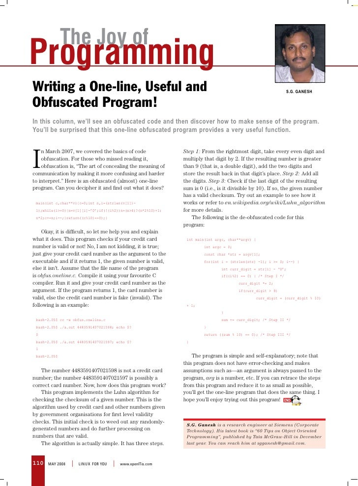 The Joy of Programming Writing a One-line, Useful and                                                                     ...
