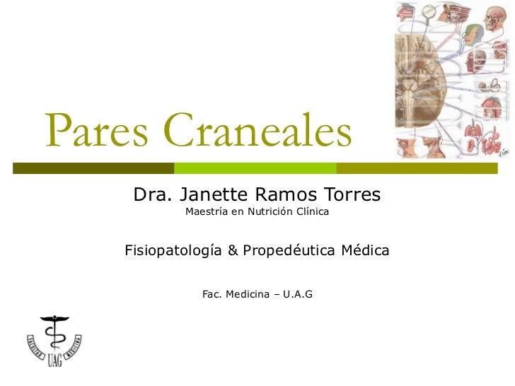 Pares Craneales    Dra. Janette Ramos Torres           Maestría en Nutrición Clínica   Fisiopatología & Propedéutica Médic...