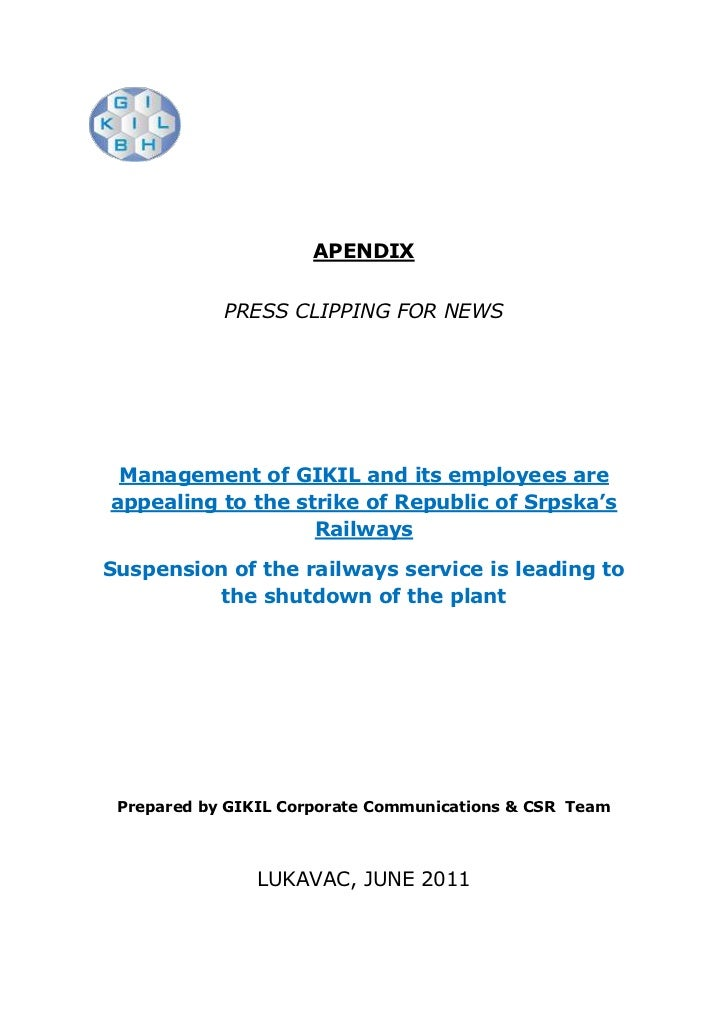 APENDIX<br />PRESS CLIPPING FOR NEWS<br />Management of GIKIL and its employees are appealing to the strike of Republic of...