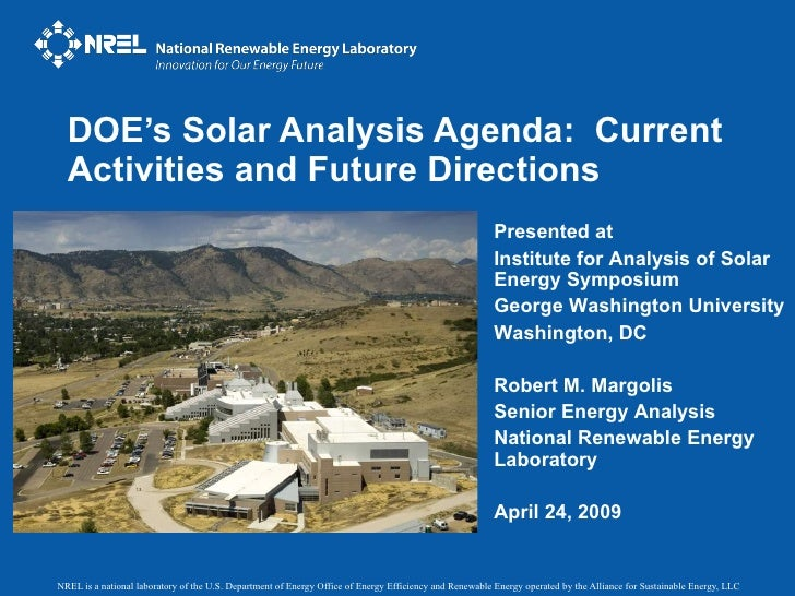 DOE's Solar Analysis Agenda:  Current Activities and Future Directions Presented at  Institute for Analysis of Solar Energ...