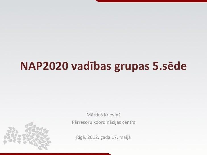 NAP2020 vadības grupas 5.sēde                Mārtiņš Krieviņš         Pārresoru koordinācijas centrs           Rīgā, 2012....