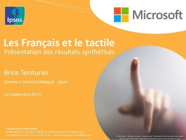 Etudes les Français et le tactile (Ipsos pour Hopscotch et Microsoft)