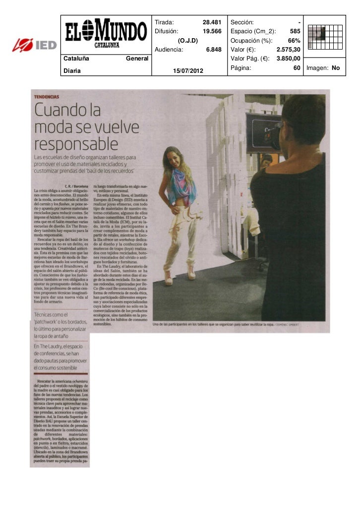 Clipping EL Mundo 17/07/12 @ IED Barcelona