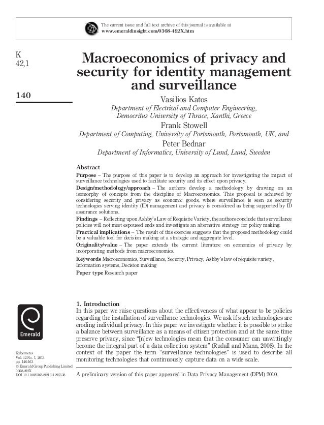 Macroeconomics of privacy and security for identity management and surveillance Vasilios Katos Department of Electrical an...